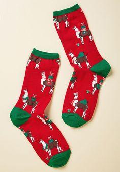 ModCloth Llama Want for Christmas is You Socks - Size OS Funky Socks, Crazy Socks, Cute Socks, Llama Socks, Llama Llama, Christmas Wishlist 2017, Green Socks, Unique Socks, Socks And Sandals