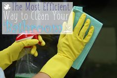 The Most Efficient Way to Clean Your Bathroom  #bathroom #clean #cleaning #efficient #tips #guide #ideas #howto #diy #disinfect