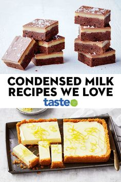 Condensed milk recipes that make everything instantly okay We know our audience love cracking a can of sticky sweetened condensed milk. Here are our favourite desserts, baked goods and treats that pay tribute to Australia's most-loved sweet pantry staple. Tray Bake Recipes, Baking Recipes, Cake Recipes, Dessert Recipes, Condensed Milk Desserts, Sweet Condensed Milk, Food Cakes, Just Desserts, Sweets