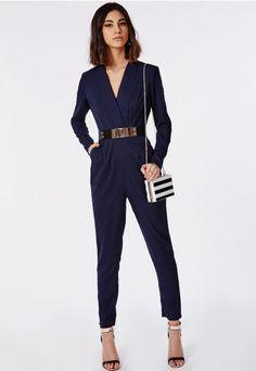 Premium Tailored Crepe Wrap Jumpsuit Navy - Jumpsuits - Missguided