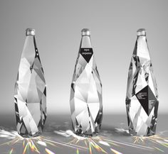 An excellent use of geometry is shown in this beverage packaging example.  The geometry used combined with the choice to make the bottle clear creates the look of a cut precious stone. The design of this bottle also has the ability to bend light in a highly attractive way.