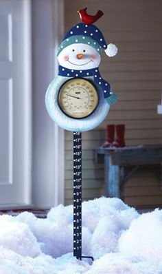 CHECK! I BOUGHT ONE!!!  Snowman Thermometer & Snow Gauge Holiday Decoration - I LOVE THIS!