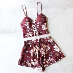 reverse - burgundy floral two piece set with ruffle hem - shophearts - 1