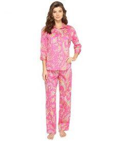 LAUREN Ralph Lauren Sateen 3/4 Sleeve Pajama (Pink Multi Paisley) Women's Pajama Sets