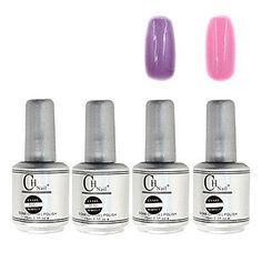 QINF 4PCS CH Silver Bottle Soak-off UV Gel Set Top Coat Base Gel 2 UV Color Builder Gel(No.75-76,15ml) ** This is an Amazon Affiliate link. To view further for this item, visit the image link.