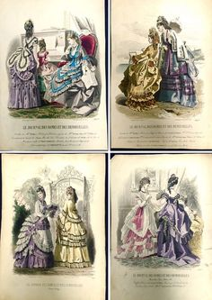 """Online veilinghuis Catawiki: Lot van 4 grote ingekleurde gravures, thema """"Damesmode"""" - Franse mode midden 19de eeuw"""