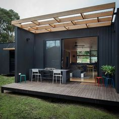HOME DECOR Containerhaus Design Thailand Alternative To Rat Poison Mechanical rat traps are one poss House Cladding, Exterior Cladding, House Paint Exterior, Exterior Design, Metal Building Homes, Building A House, Prefab Modular Homes, Small Modular Homes, Tiny House Design