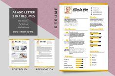 A4/Letter Resume Gold Template  Modern Resume  CV by ferrydesign