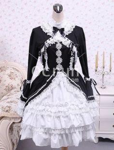 Baumwolle Schwarz And Weiß Schnüren Gothic Lolita Kleid