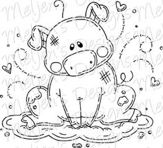 Pig in Mud - Black and White Coloring Pages | Stencils #colorpages #stencils
