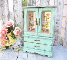 Mint Green Shabby Chic Jewelry Box / Armoire