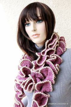 Crochet Ruffle Scarf  Unique Design Crochet Scarf Purple/Beige Ready To Ship by crochetlyubava, $45.00