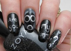 The Digit-al Dozen DOES Black and White Day 3: Doctor Who Empty Child Nail Art! - Adventures In Acetone