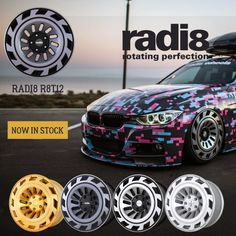radi8 r8t12 - THE WAIT IS OVER!! Our radi8 r8t12 are now in stock and available to order Worldwide from our global network of radi8 dealers. Available finishes; Matte Silver / Machined Black / Machined Dark Mist 'Limited Edition' Brushed Gold. Please contact your local radi8 Wheel dealer for more info. radi8 wheels.