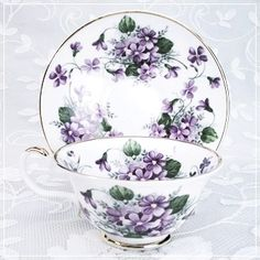 Violets Deluxe Bone China Cup & Saucer