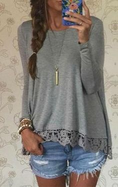 Cupshe Easy Day Grey Lace Top