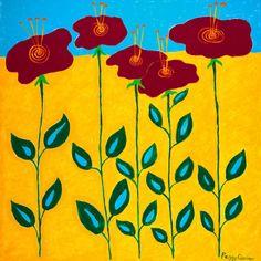 Sunny Abstract Floral    8 x 8 Fine Art Acid by PeggyQuinnStudio, $12.00
