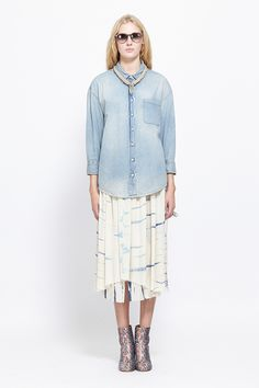 Raquel Allegra Silk Skirt (Ivory Tie Dye) / MAISON MARTIN MARGIELA Galaxy Tabi Boot