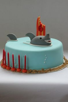 He loves his sharks! Fishing Cakes, Shark Birthday Cakes, Cupcake Cakes, Cupcakes, Shark Cake, Shark Party, Occasion Cakes, Piece Of Cakes, Fabulous Foods