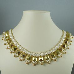 Necklace Woven with Golden Pwyramid Beads and Cream by IndulgedGirl