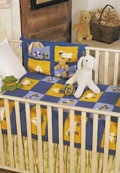 Blue and Yellow Nursery Set Knitting Pattern | FaveCrafts.com