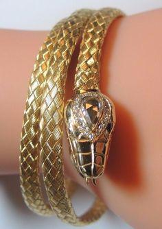 Victorian Rose Diamond Snake Bracelet 18K Yellow Gold EGL USA Appraisal $9,640 #Handmade #Bangle