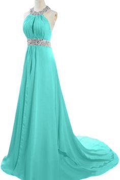 EnjoyBuys Exquisite Halter Neck Evening Prom Dresses With Sequins (US 18W, Aqua)