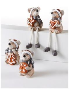 "Weihnachtsdeko ""Mäuse"" (4-tlg. Set), bpc living, grau/braun"