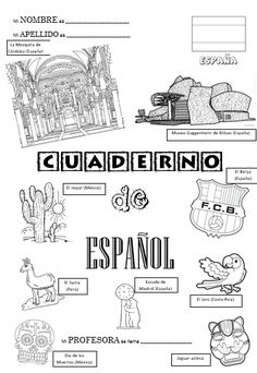 Page de garde du cahier (version 2017 - Best Pins Muse, Spanish Posters, Teacher Organization, Teaching Spanish, Bullet Journal Inspiration, Interactive Notebooks, Classroom, Education, Comics