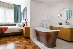 Old Clare, new tricks: a glimpse inside The Old Clare hotel's new rooms Art Deco Room, Natural Stone Bathroom, Cast Iron Bathtub, Super King Size Bed, Timber Flooring, Architect Design, New Room, Room Inspiration, Interior Architecture