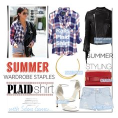 """The Rails Plaid Shirt with Selena Gomez..."" by nfabjoy ❤ liked on Polyvore featuring Michael Kors, Delfina, Chloé, MANGO, Sacai Luck, Stuart Weitzman, Summer and plaidshirt"