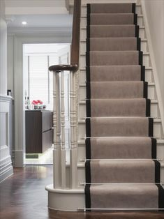 use of modern stair rods on runner, wood staircase update