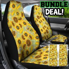 Car Accessories For Girls : Love of Sunflowers Bundle Deal, car mats, car seat cover, car accessory, car acc… Best Cars For Teens, Cardboard Car, Trick Riding, Car Upholstery, Fit Car, Car Accessories For Girls, Premium Cars, Car Mats, Car Covers