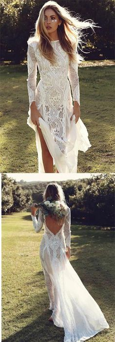 Off White Sheath Long Sleeve Backless Lace Wedding Dress,Summer Beach Wedding Dress OKA54 #ivory #lace #longsleeves #wedding #backless #okdresses