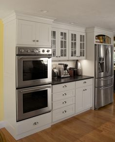 Renovation of the Renovisions kitchen. White cabinets, hardwood floors, soapstone counting … – Update Your Kitchen Cabinets Double Oven Kitchen, Kitchen Oven, Kitchen Redo, Home Decor Kitchen, Rustic Kitchen, Interior Design Kitchen, New Kitchen, Home Kitchens, Kitchen Remodel