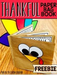 Thanksgiving Book. Use this fun interactive paper bag book for your students to share what they are thankful for. Each page of the book includes space for them to illustrate…