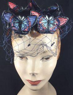 Vintage Original Bes Ben Hat c1963 Blue with Butterflies #BesBen #SkullCap