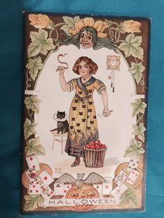 Halloween Embossed Vintage Antique Postcard Pumpkins Black Cat E. Nash Artist  #Halloween