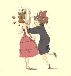 Kiki's Delivery Service (Studio Ghibli) (Hayao Miyazaki) Anime Movie rhis isnt real but good that girl was so rude to her poor kiki Totoro, Studio Ghibli Art, Studio Ghibli Movies, Cartoon Network, Chihiro Y Haku, Film Manga, Character Art, Character Design, Kiki Delivery