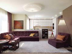 lila kanapé, fehér és barna - nappali szoba lakberendezési ötletek, látványtervek
