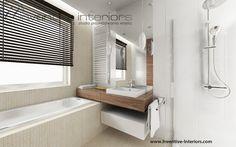 Projekt łazienki Inventive Interiors - beż i orzech w łazience