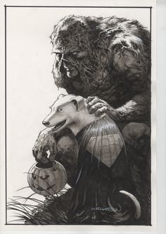 Wrightson Swamp Thing with Krypto/Sonny Comic Art