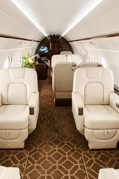 Interior of a private luxury jet.