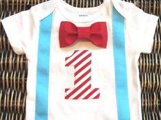 Dr. Seuss Cat in the Hat Birthday Outfit Baby Bow by SewLovedBaby