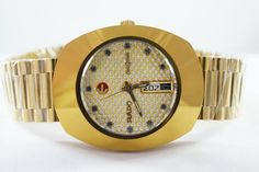 Auth GENUINE RARE AUTOMATIC VINTAGE RADO DIASTAR D&D MEN'S SWISS WRIST WATCH #Rado #LuxuryDressStyles #rado #auction #diastar #gold #black #watch #ebay