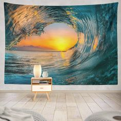 Discover the best beach themed tapestries and coastal wall tapestries. We love beach wall decor and tapestries are affordable and beautiful, which makes them a great option. Dorm Tapestry, Tapestry Wall Hanging, Wall Tapestries, Beach Wall Decor, Beach House Decor, Ocean Artwork, Ocean Wallpaper, Sunset Sea, Hanging Flower Wall