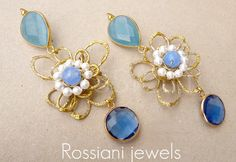 Light blue earrings - Rossiani Jewels Handmade jewels - made in Italy Plated and hammered silver, angelite, pearls and tormaline crystal
