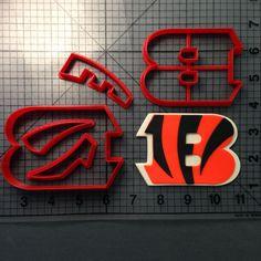 Cincinnati Bengals Cookie Cutter Set JBCookieCutters.com customizes moldings, cookie cutters, cookie cutter, cutters, cutter, silicone mold, silicone molds, stencil, stencils, baking supplies, baking
