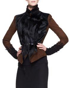 B2LC2 Donna Karan Belted Lambskin Suede & Fur Jacket, Cognac/Black