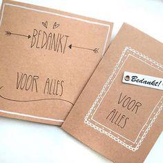 Iemand bedanken? Zeg het via een kaartje. €1,- per stuk! #lievigheidje #bedankt #thankyou #thanks #handmade #handgemaakt #handlettering #kraftwhite #bedanktvooralles #kaarten #label